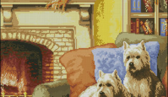 At the fireplace-free cross-stitch design