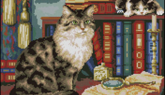 In a study -free cross-stitch pattern