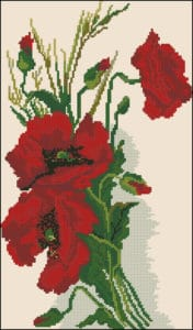 Delight. Red poppies-free cross-stitch design