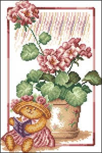 Geranium-free cross-stitch pattern