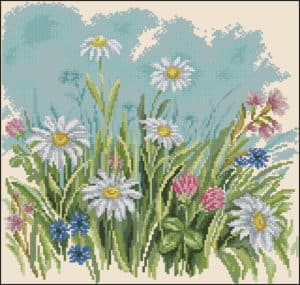 Daisies in the field-cross-stitch pattern