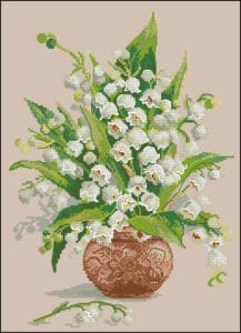 Lilies of the valley in a vase-cross-stitch design