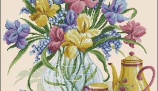 Irises in a vase-free cross-stitch pattern