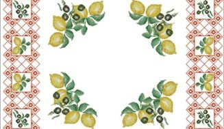 Tablecloth with lemons-free cross-stitch design