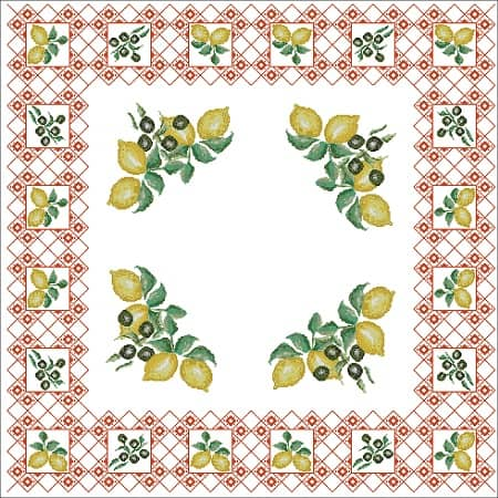 Tablecloth With Lemons Free Cross Stitch Design Free Cross Stitch Patterns