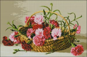 Carnations in a basket-free cross-stitch pattern