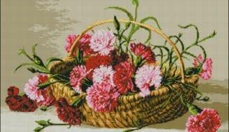 Carnations in a basket-free cross-stitch pattern