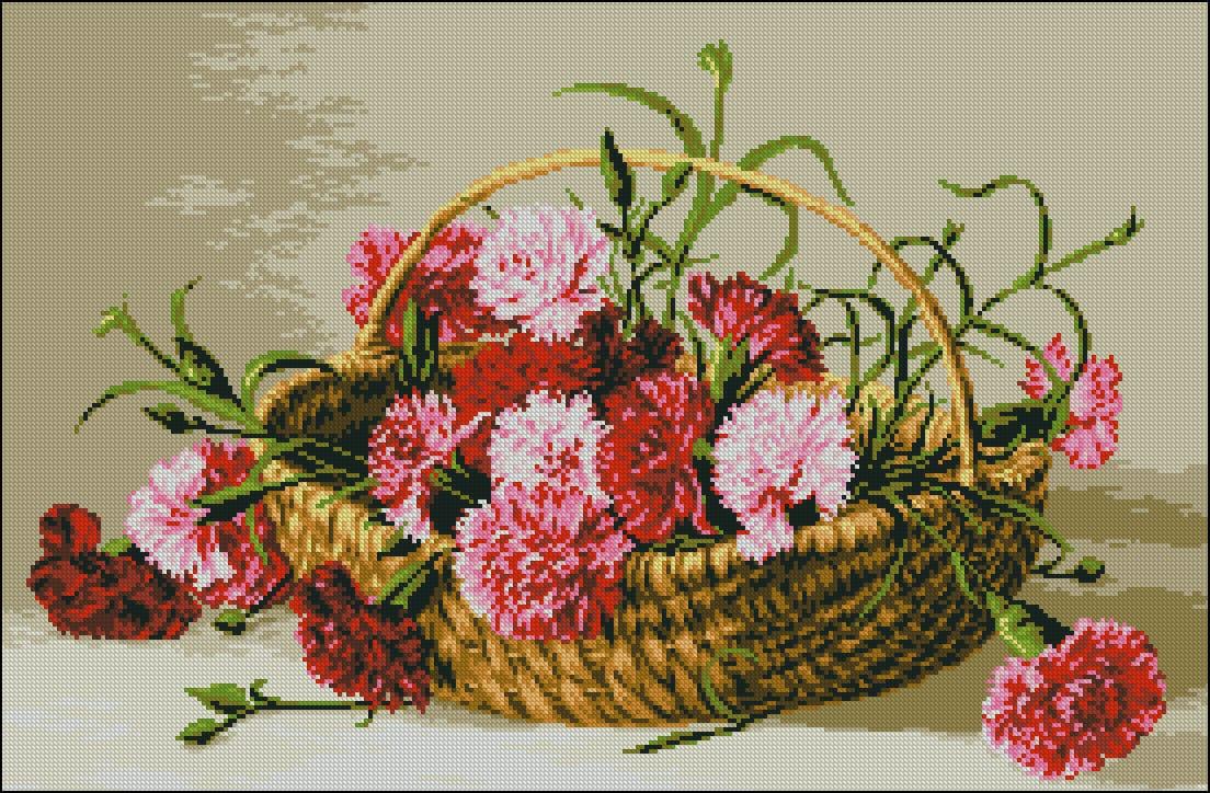 Carnations In A Basket Free Crocc Stitch Pattern Free Cross Stitch Patterns
