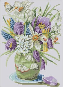 Crocuses and Daffodils-free cross-stitch pattern