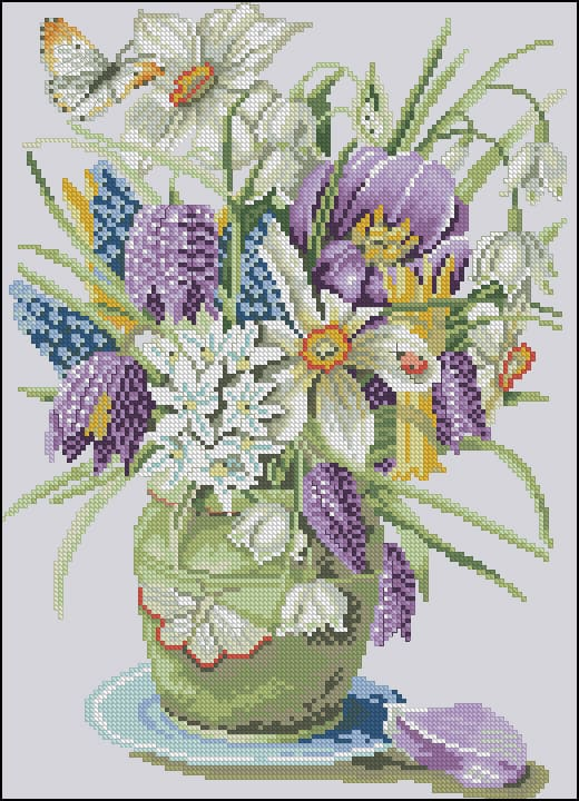 graphic about Needlepoint Patterns Free Printable identify Crocuses and Daffodils-totally free cross-sch routine Cost-free