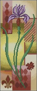 Panel with iris-free cross-stitch pattern