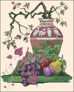Oriental still life-free cross-stitch pattern