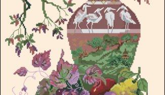 Oriental still life-free cross-stitch pattern