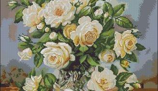 Yellow and white roses-cross-stitch pattern
