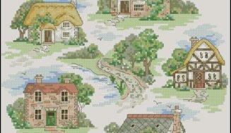 Free cross-stitch pattern- Countryside houses