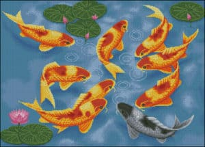 Gold fishes-free cross-stitch pattern