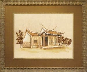 "Free cross-stitch pattern ""Dragon temple"""