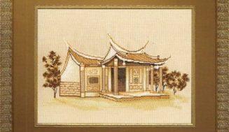 "Free cross-stitch pattern ""Dragon temple"""