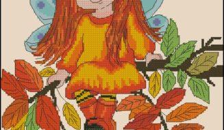 Free cross-stitch pattern -Autumn fairy