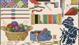 "Cross-stitch design ""Needlewoman accessories"""