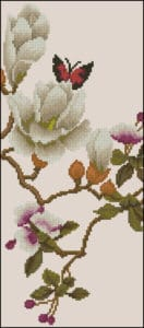 Butterfly on a magnolia flower-free cross-stitch design