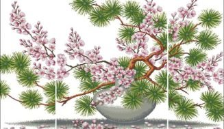 Sakura and pine-free cross-stitch design