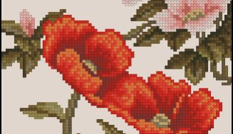 "Chinese motif ""Bird and flowers""-cross-stitch design"