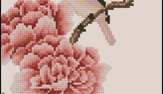 Chinese motif  bird and rose-free cross-stitch design