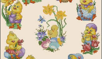 Easter chickens-free cross-stitch pattern