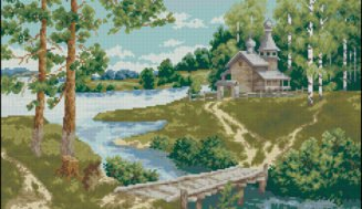 Church on the river shore-cross-stitch design
