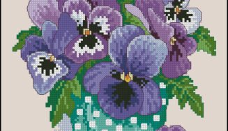 Blue violets  in a vase-free cross-stitch pattern