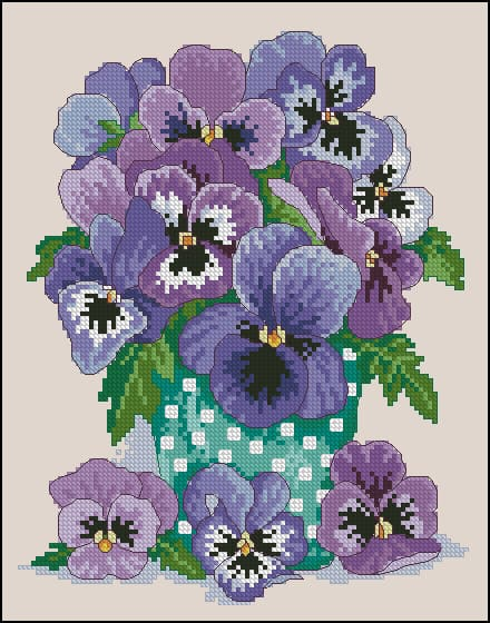 PDF cross stitch Cross stitch Counted cross stitch pattern PDF pattern Embroidery pattern Still Life with a Bouquet of Violets