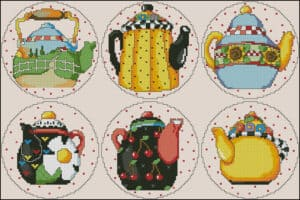 Teapots-free cross-stitch pattern