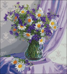 Daisies and bells in a vase- free cross-stitch design