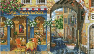 Venetian cafe-cross-stitch design