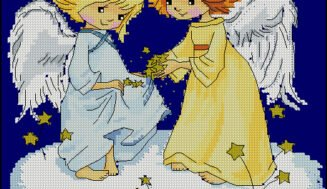 Playing angels-free cross-stitch pattern