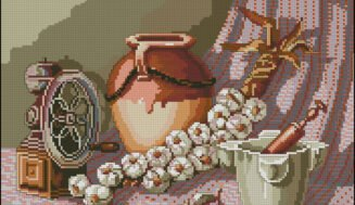 Still life with a jug-free cross-stitch design