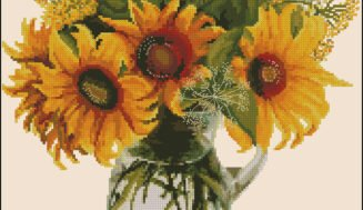 Sunflowers in a jug-free cross-stitch design