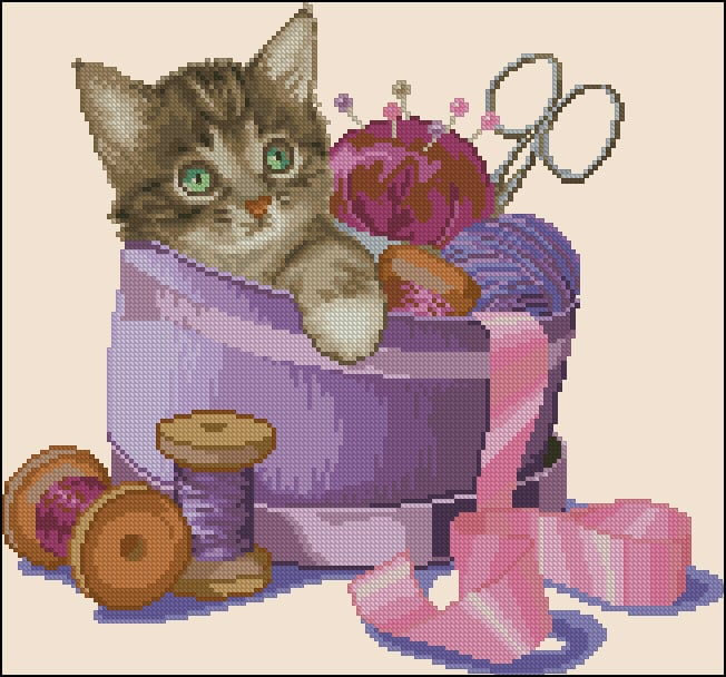 Kitten and needlecraft-cross-stitch design