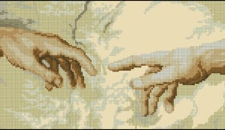 Hands-cross-stitch design