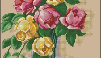 Roses in a glass vase-cross-stitch design