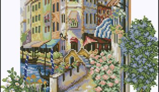 Spring city-cross-stitch design
