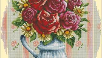 Bouquet of roses-cross-stitch design