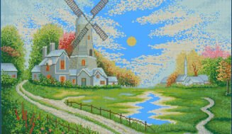 Landscape with a mill-cross-stitch design