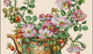 Wild rose-cross-stitch design
