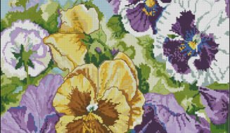 Pansies-cross-stitch design for pillow