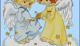 Angels on a cloud-cross-stitch design