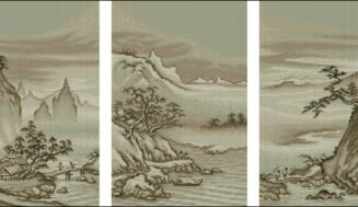Chinese landscape-cross-stitch design