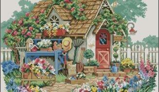 Gardener's house-cross-stitch design