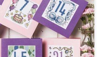 Birthday greeting card-cross-stitch pattern